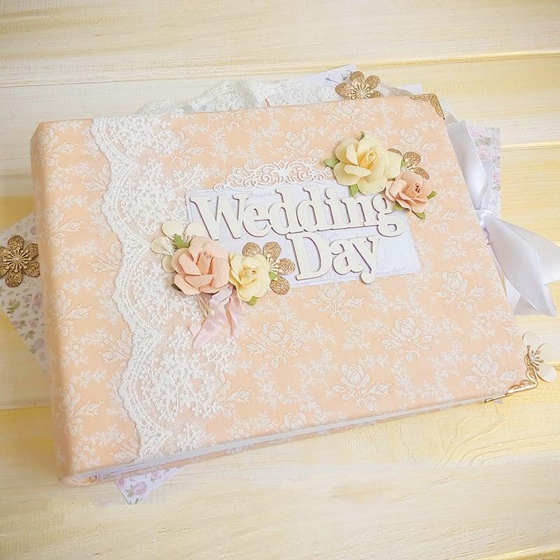 Свадебный скрапбукинг фотоальбом Peach Wedding